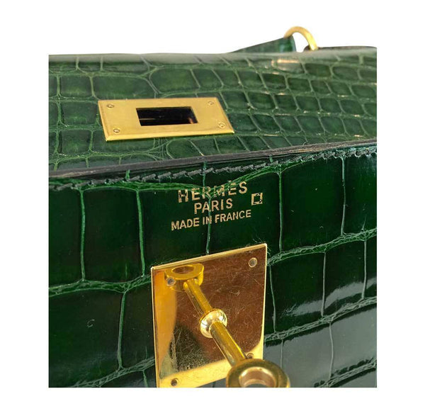 hermes kelly sellier 35 vert emerald used embossing