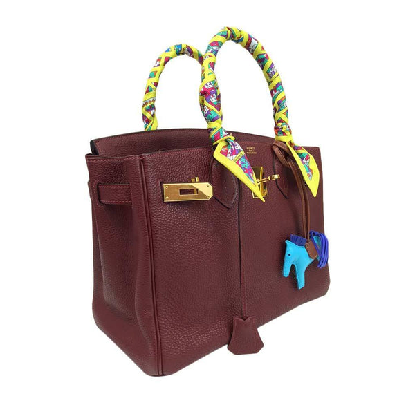 hermes birkin 30 rouge h used side open