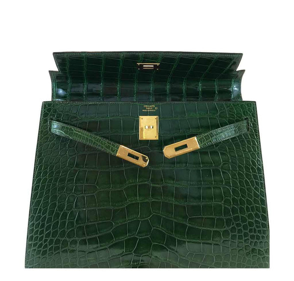 hermes kelly sellier 35 vert emerald used front open