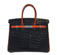Hermes Birkin 25 Black Crocodile Bag