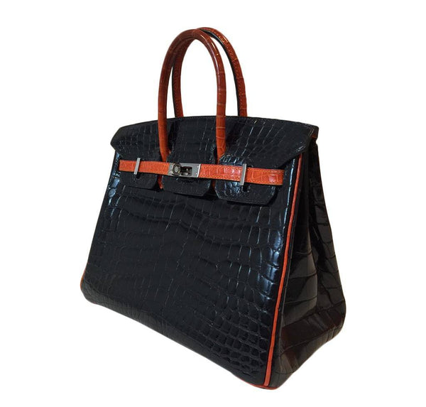 hermes birkin 25 red black crocodile special order used side