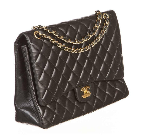 chanel classic single flap bag black used front