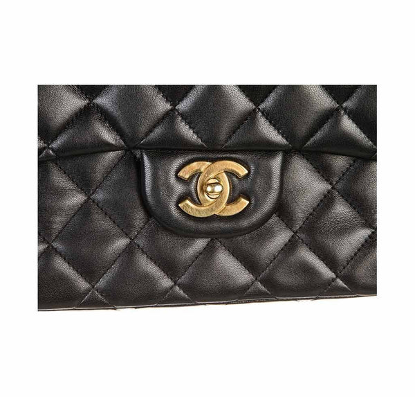 chanel classic single flap bag black used logo