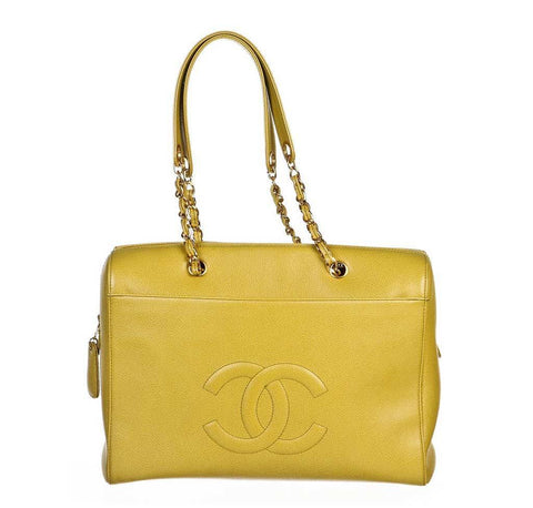 Chanel Lime Green Large Shoulder Bag