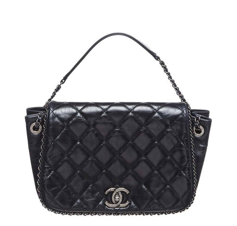 Chanel Navy Blue Accordion Bag
