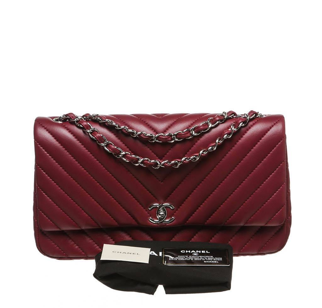a8039340a0c7 ... chanel jumbo classic flap bag burgundy used complete