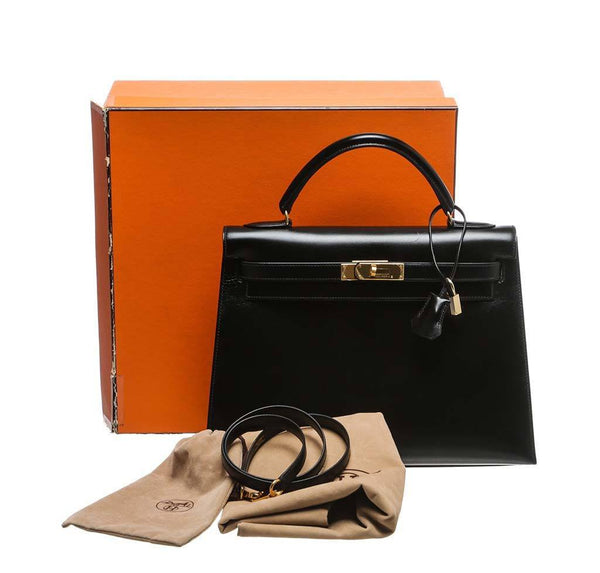hermes kelly 32 black used complete