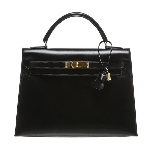 Hermes Kelly Black Box Leather Bag
