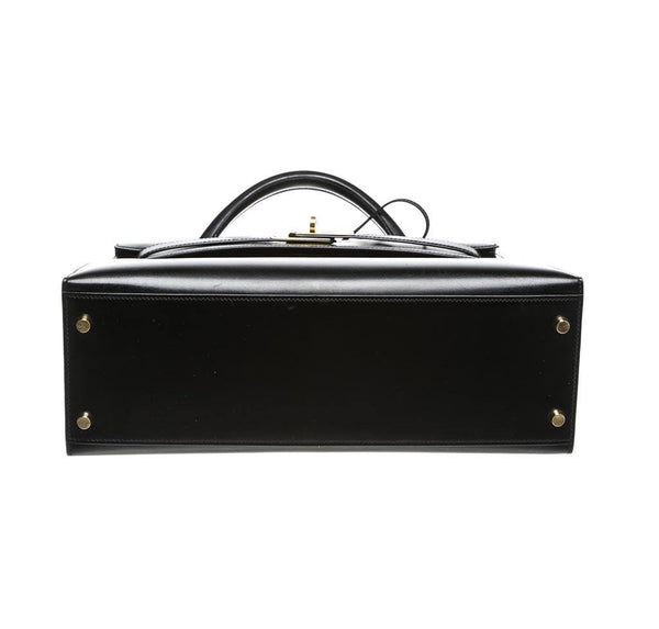 hermes kelly 32 black used bottom