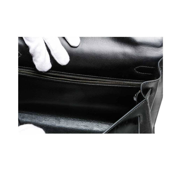 hermes kelly 32 black used inside