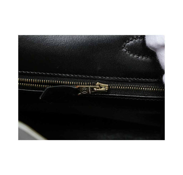hermes kelly 32 black used zipper