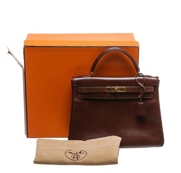 hermes kelly 32 brown used complete
