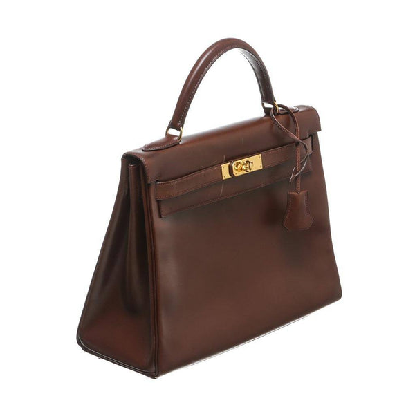 hermes kelly 32 brown used side