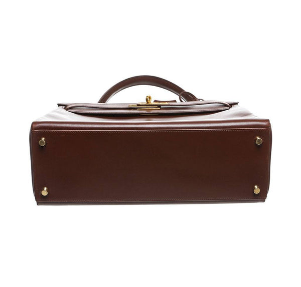 hermes kelly 32 brown used bottom