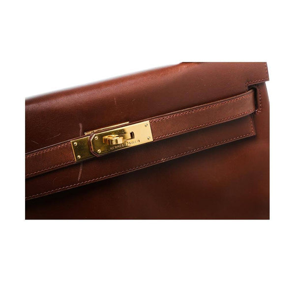 hermes kelly 32 brown used engraving