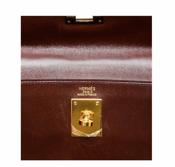 hermes kelly 32 brown used embossing