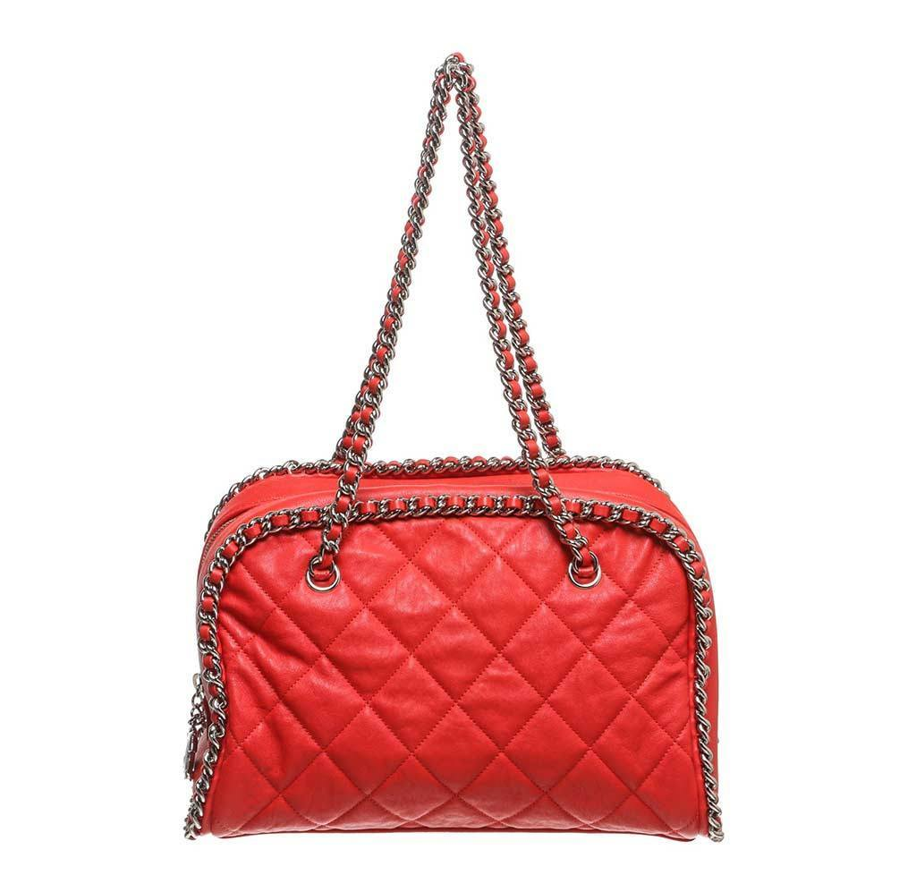 30577698a1c2 Chanel Red Quilted Bowler Bag - Silver Hardware   Baghunter