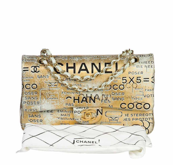 chanel medium classic flap bag gold metallic limited edition used complete