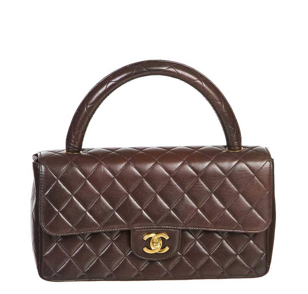 a55722d47104 Chanel Brown Top Handle Bag - Lambskin Leather