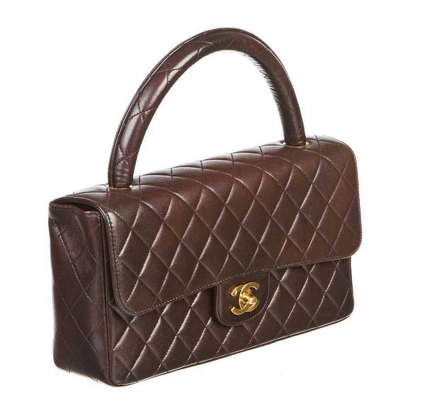 chanel top handle bag brown used side