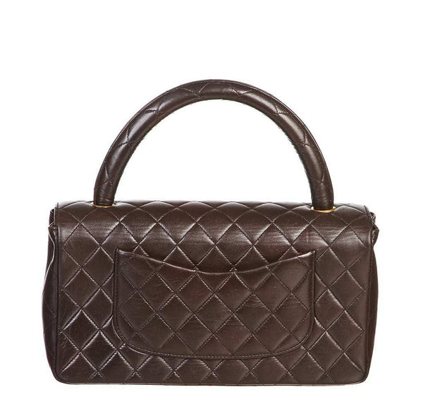 chanel top handle bag brown used back
