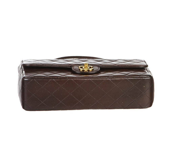 chanel top handle bag brown used bottom