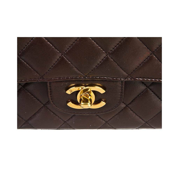 chanel top handle bag brown used enclosure