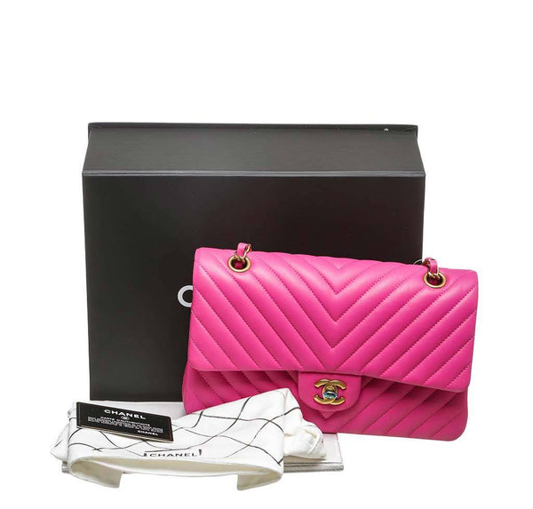 chanel classic 2.55 bag hot pink new complete