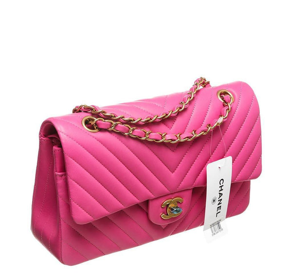 chanel classic 2.55 bag hot pink new side