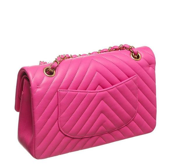chanel classic 2.55 bag hot pink new back