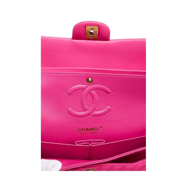 chanel classic 2.55 bag hot pink new embossing