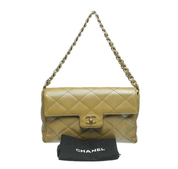 chanel flap shoulder bag gold used complete