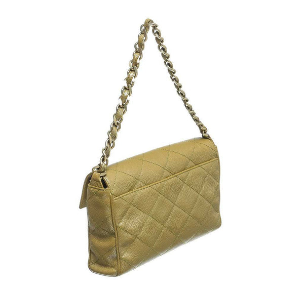 chanel flap shoulder bag gold used back