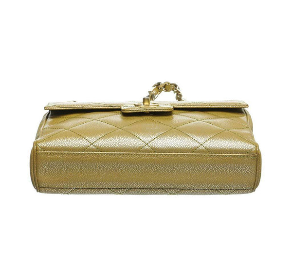 chanel flap shoulder bag gold used bottom