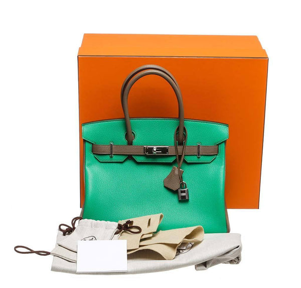 hermes birkin 30 green gray new complete