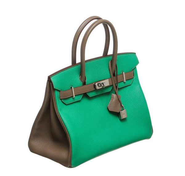 hermes birkin 30 green gray new side