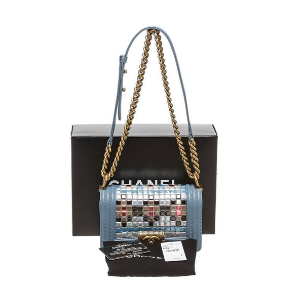 chanel boy bag mosaic light blue used complete