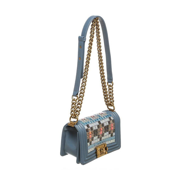 chanel boy bag mosaic light blue used side