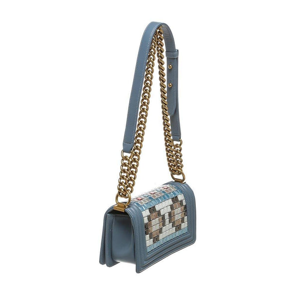 chanel boy bag mosaic light blue used back side