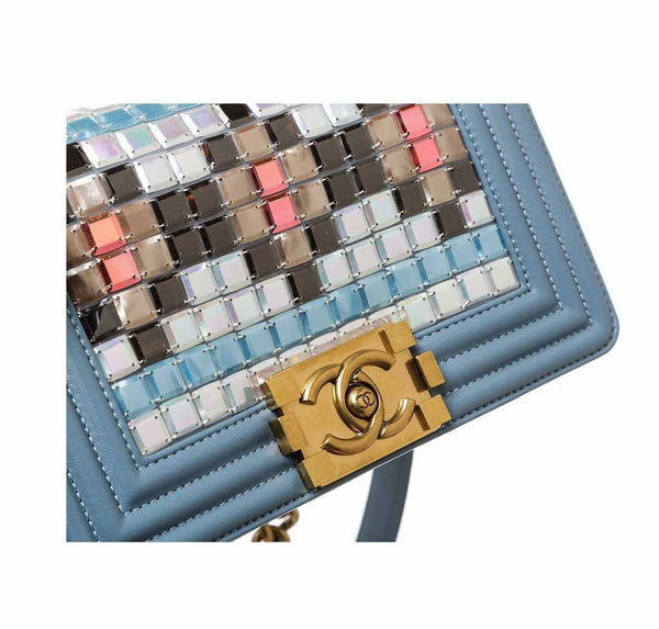 chanel boy bag mosaic light blue used detail
