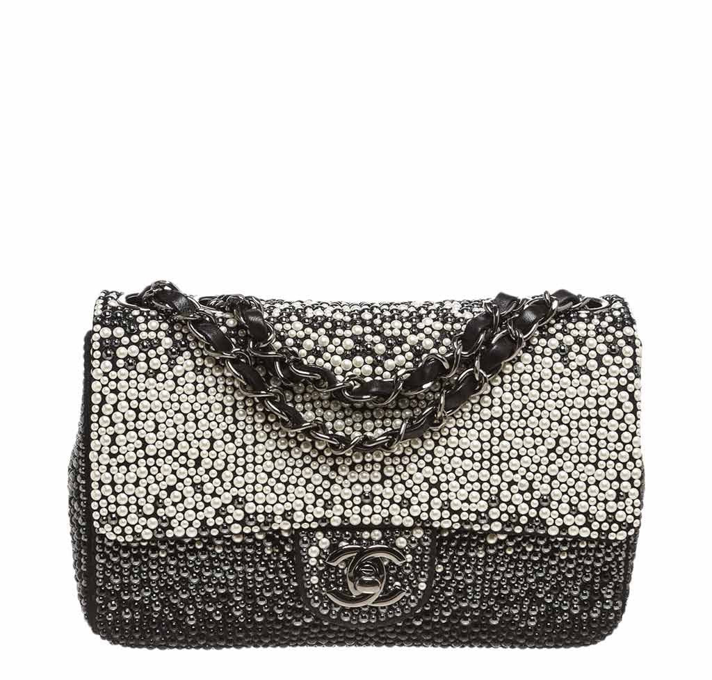 40cfc30249b Chanel Flap Bag Black White Pearls - Limited Edition