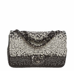 Chanel Flap Bag Black White Pearls