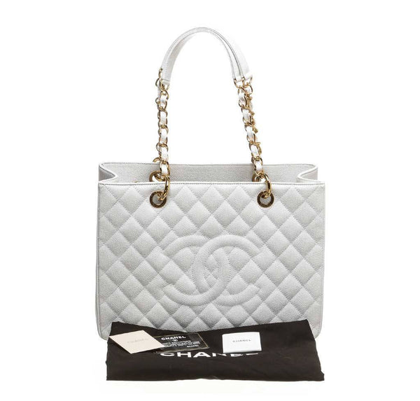 chanel grand shopper tote white used complete