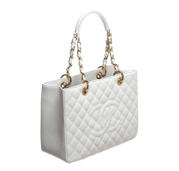 chanel grand shopper tote white used front
