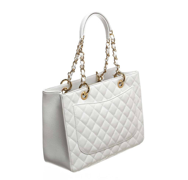 chanel grand shopper tote white used back