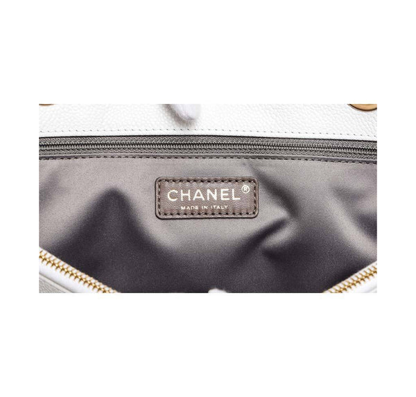 chanel grand shopper tote white used detail