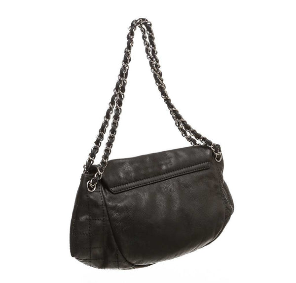 chanel half moon shoulder bag black used back