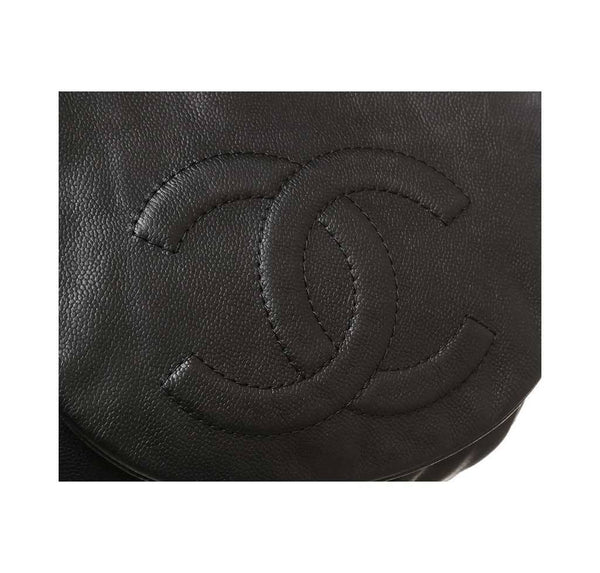 chanel half moon shoulder bag black used logo