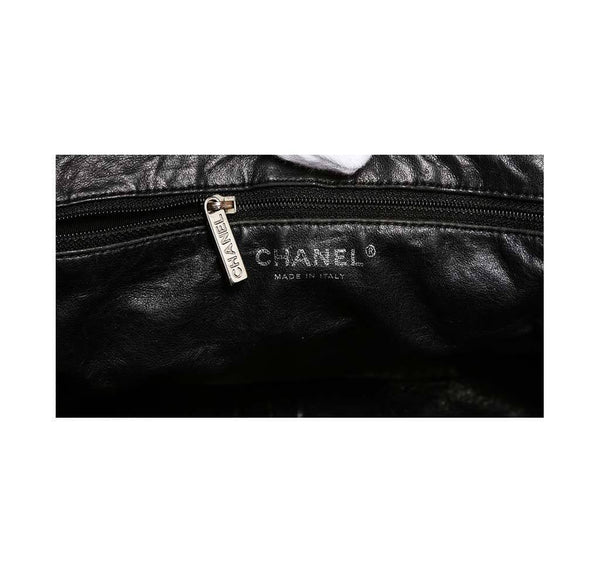 chanel half moon shoulder bag black used detail