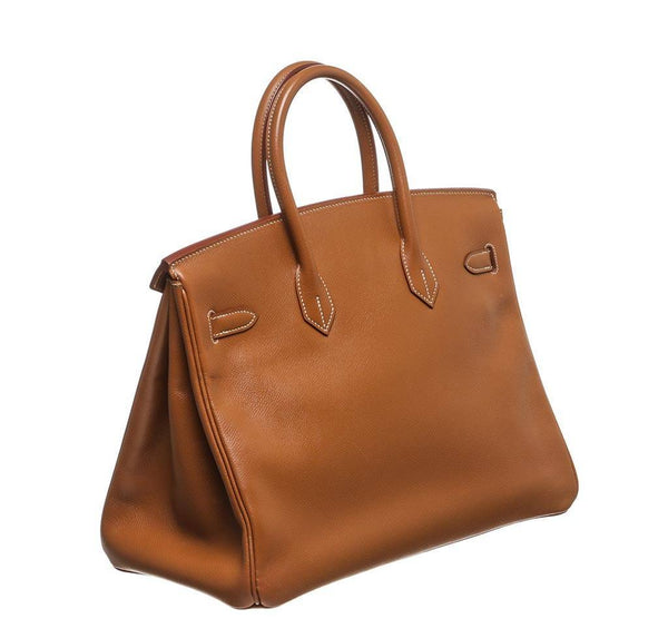 hermes birkin 35 gold used side back